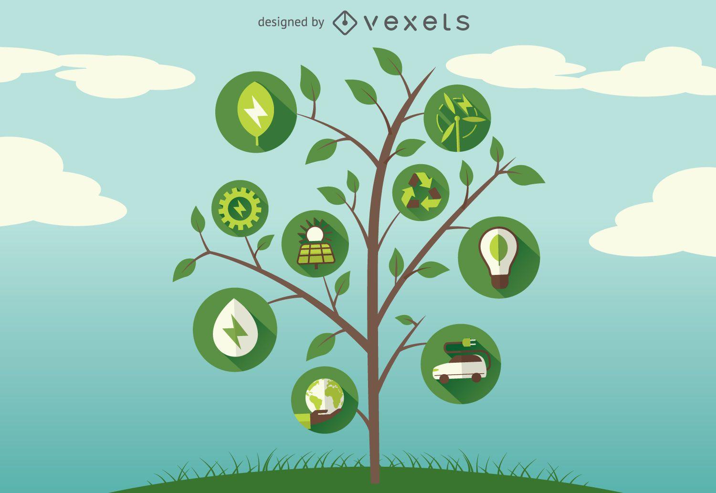 Green energy tree icons