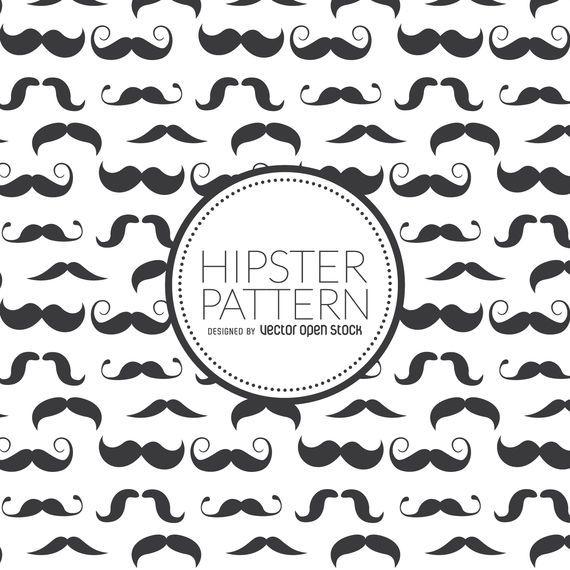 Padrão sem emenda de bigode hipster