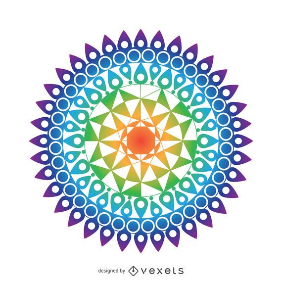 Desenho De Mandala Colorida Baixar Vector