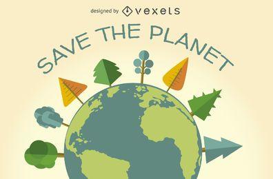 Salve o sinal de ecologia do planeta