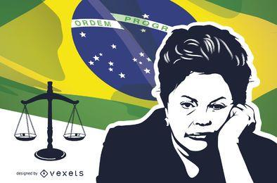 Estêncil de impeachment de Dilma Rousseff sobre bandeira brasileira