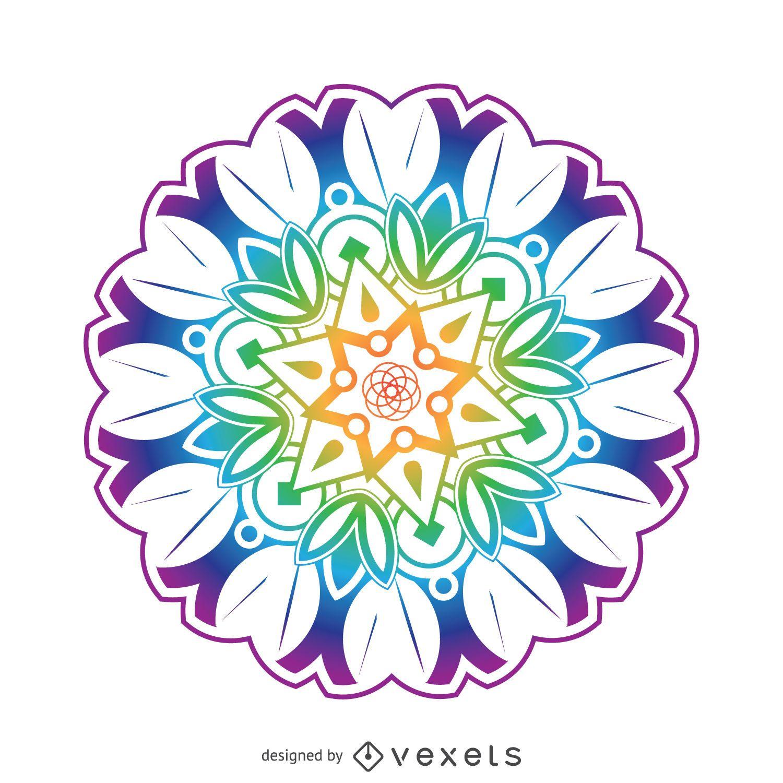 Flores de colores mandala Descargar vector