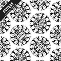 Fondo de patrón de mandala en blanco y negro