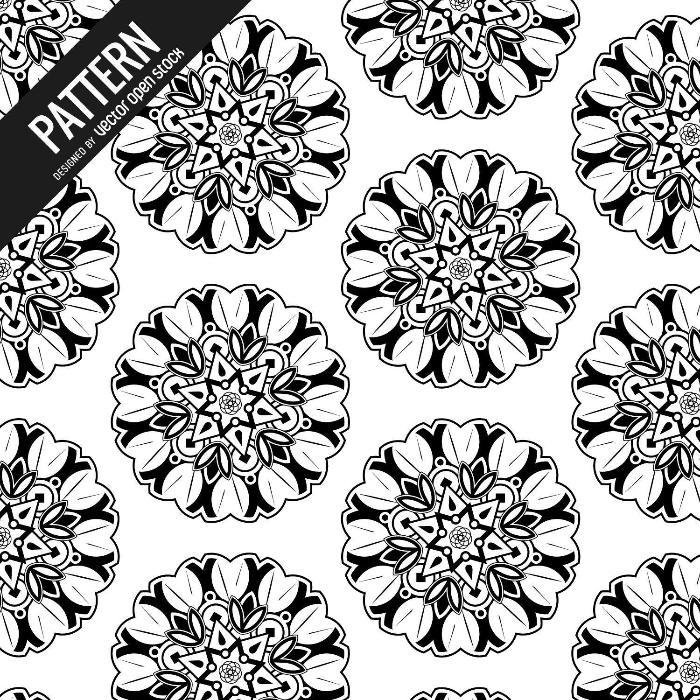 B&W mandala pattern background