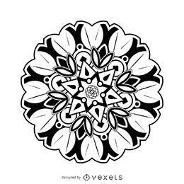 Desenho de mandala de flor
