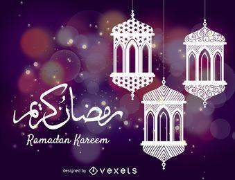 Ramadán celebración de dibujo