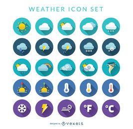 Conjunto de ícones de clima plano