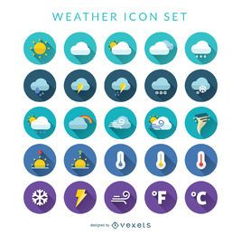 Flache Wetter-Icon-Set