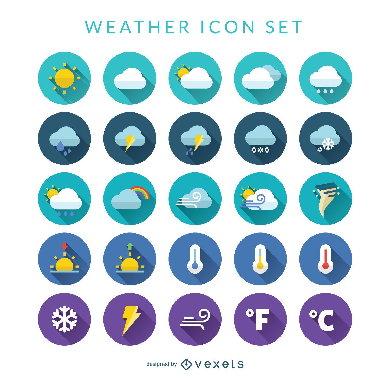 Conjunto de iconos de clima plano
