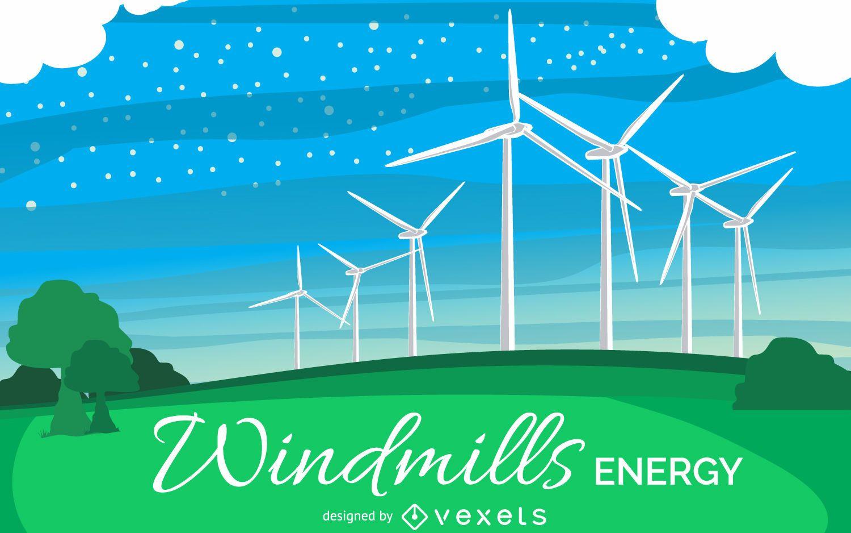 Ilustração de energia do moinho de vento