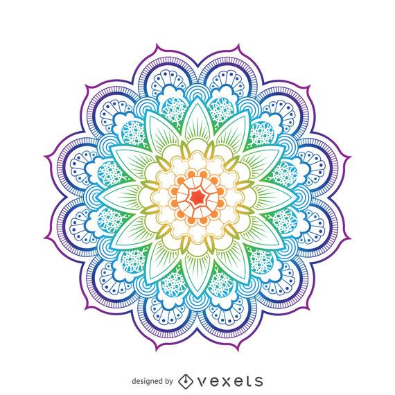 Bright mandala flower illustration