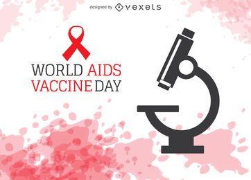 Dia Mundial da Vacina contra a Aids com microscópio