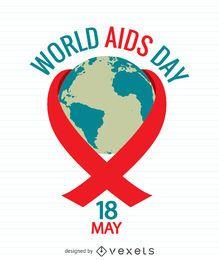 Cartaz do dia da Aids com o mundo dentro da fita vermelha