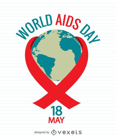 AIDS Day poster with world inside red ribbon