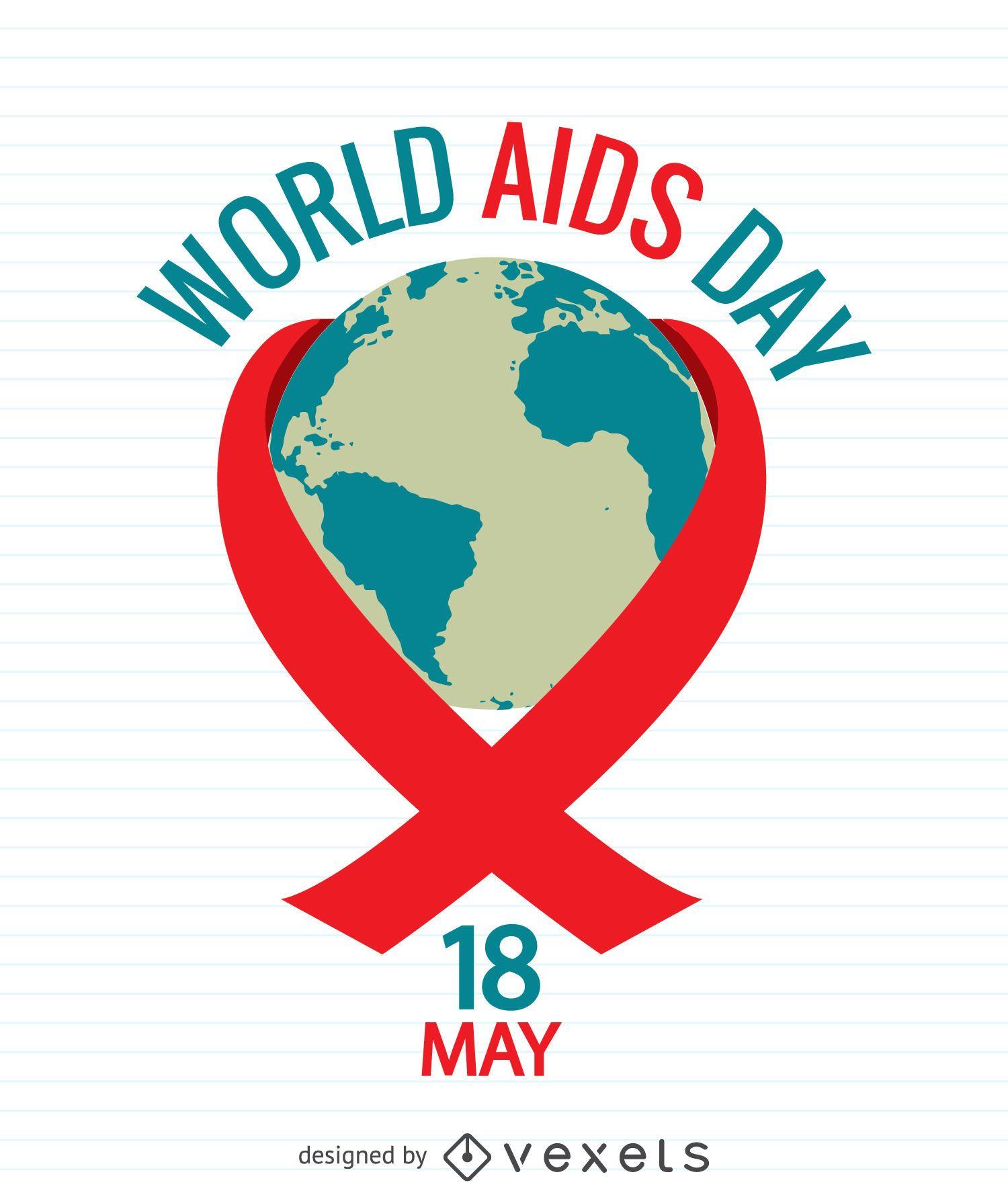 Cartel del día del SIDA con el mundo dentro de la cinta roja