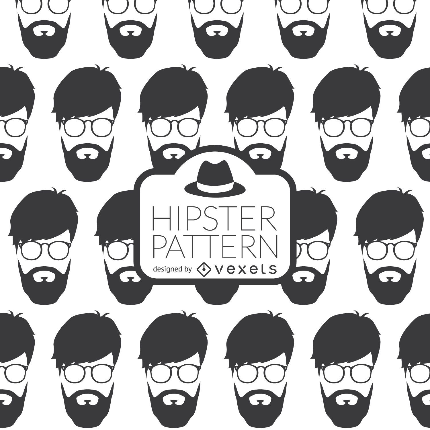 Hipster Face Pattern Vector Download