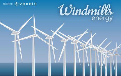 Ilustración de molino de viento de energía