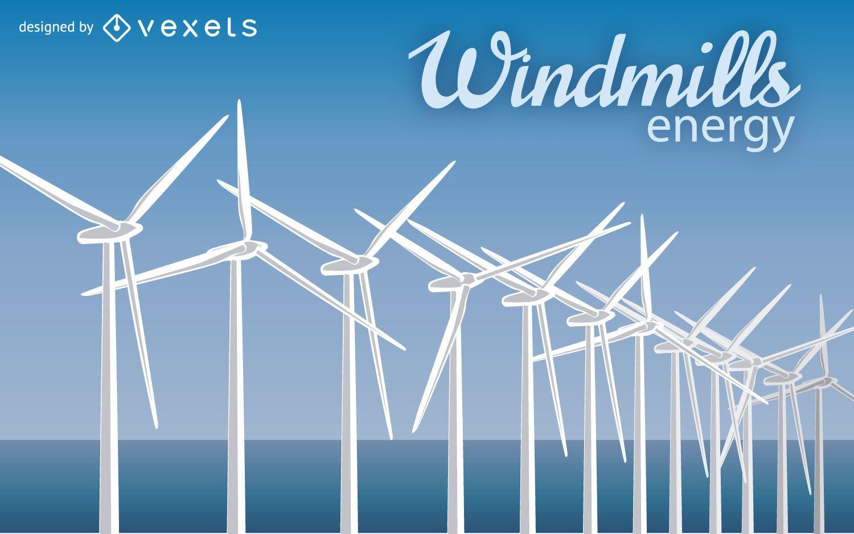 Ilustração do moinho de vento de energia