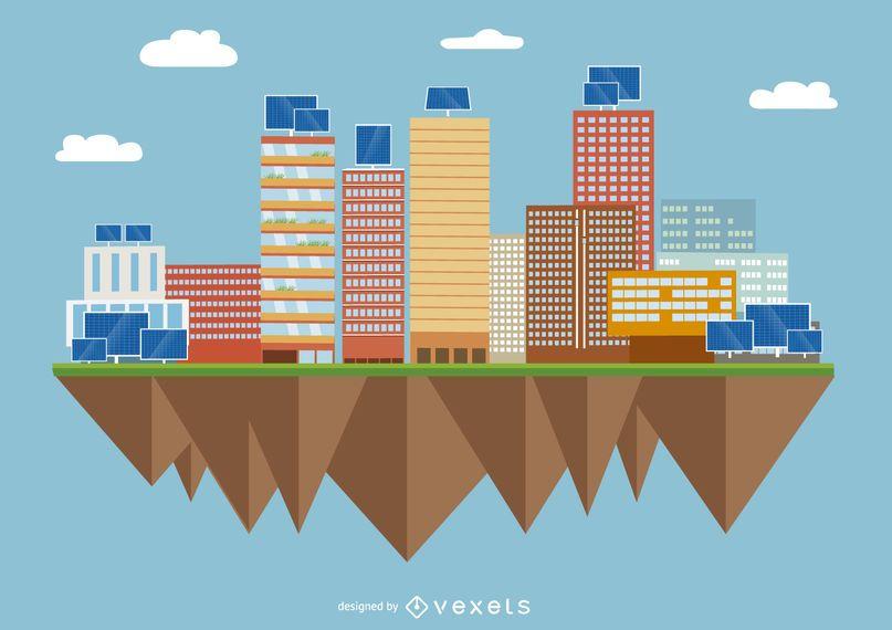 Ciudad Con Paneles Solares Descargar Vector