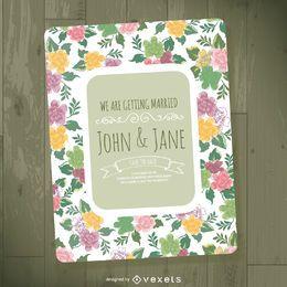 Molde do convite do casamento floral