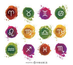 Conjunto de signos do zodíaco em aquarela