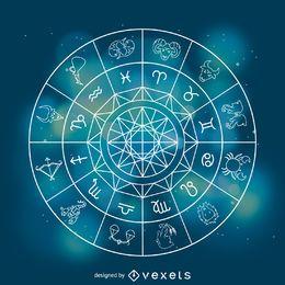 Ilustração dos signos do horóscopo do zodíaco
