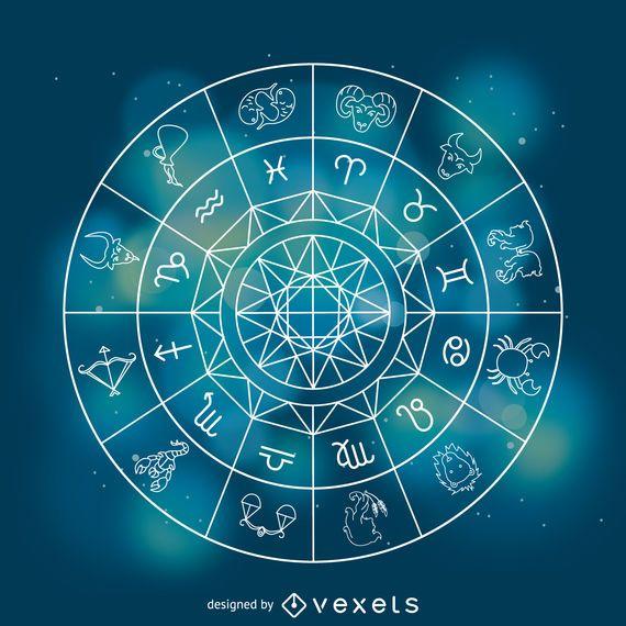 Horóscopo zodíaco assina ilustração