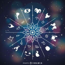 O zodíaco assina o desenho de símbolos