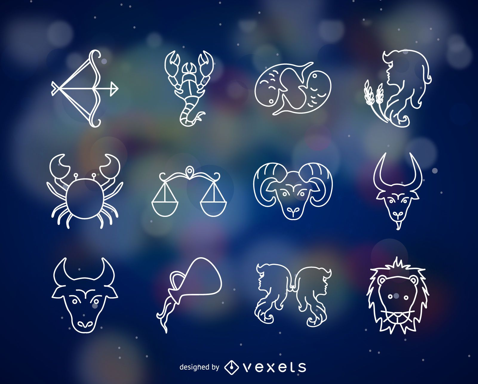 Horoscope signs thin line icon