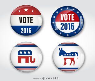 Wahl republikanische demokratische Abzeichen