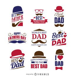 Conjunto de etiqueta de signo del día de padre