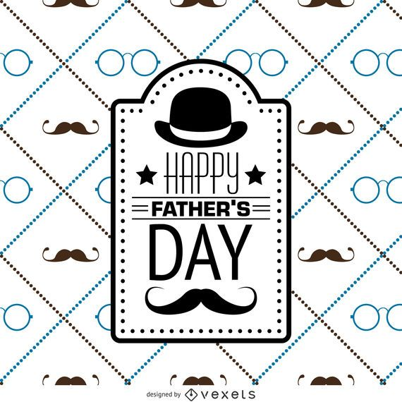 Hipster Father's Day square pattern