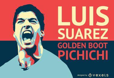 Ilustración de futbolista Luis Suárez.