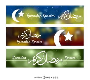 3 pancartas de Ramadán Kareem