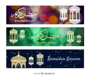 Banners de Ramadan ornamentais