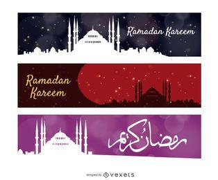 Conjunto de banners de horizonte de Ramadán