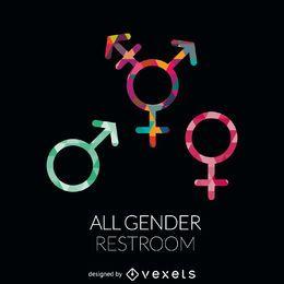 WC-Etikett für alle Geschlechter