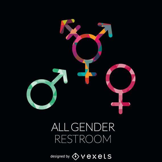 Etiqueta de banheiro para todos os gêneros