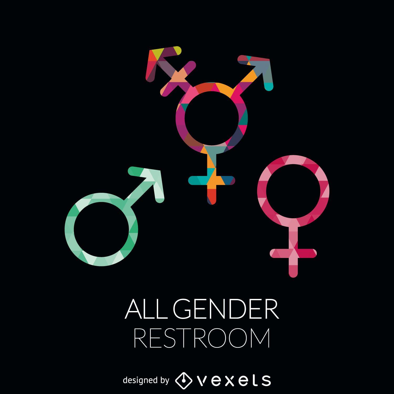 All genders restroom label