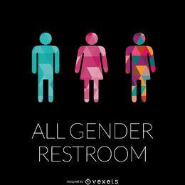 géneros LGBT muestra del lavabo