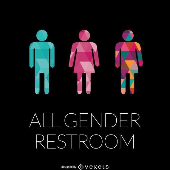Sinal de banheiro de gêneros LGBT