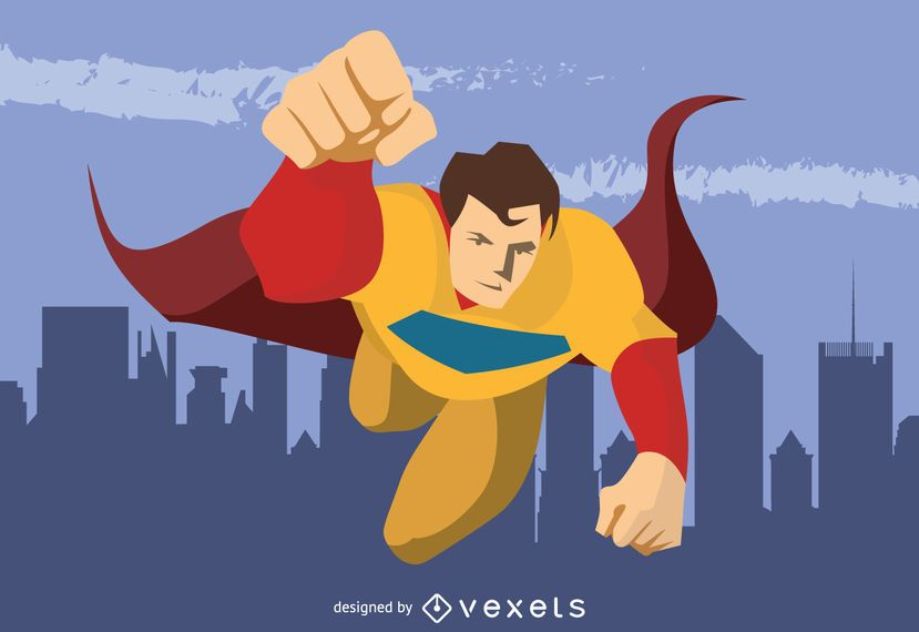 Superhero flying character drawing