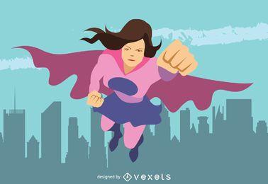 Ilustración de la mujer del super héroe