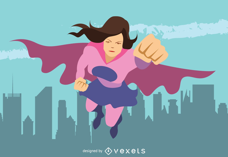 Superhero woman illustration