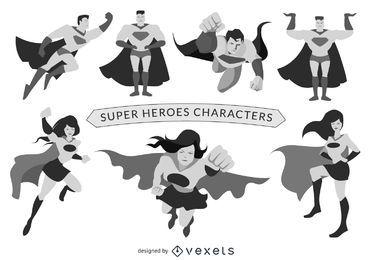 Conjunto de personajes de superhéroes
