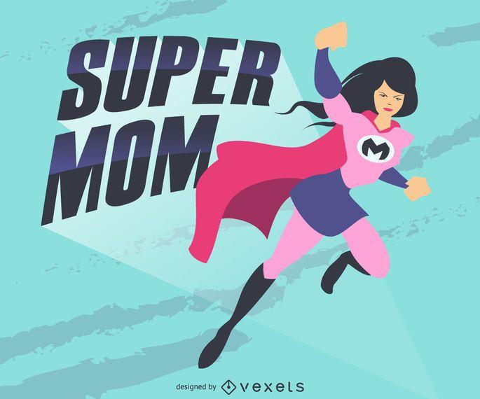 ilustración súper mamá