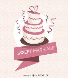 torta de la boda con la cinta
