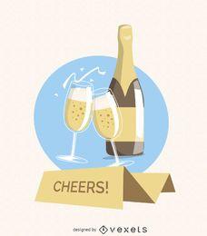 Champagne saludos tarjeta de felicitación