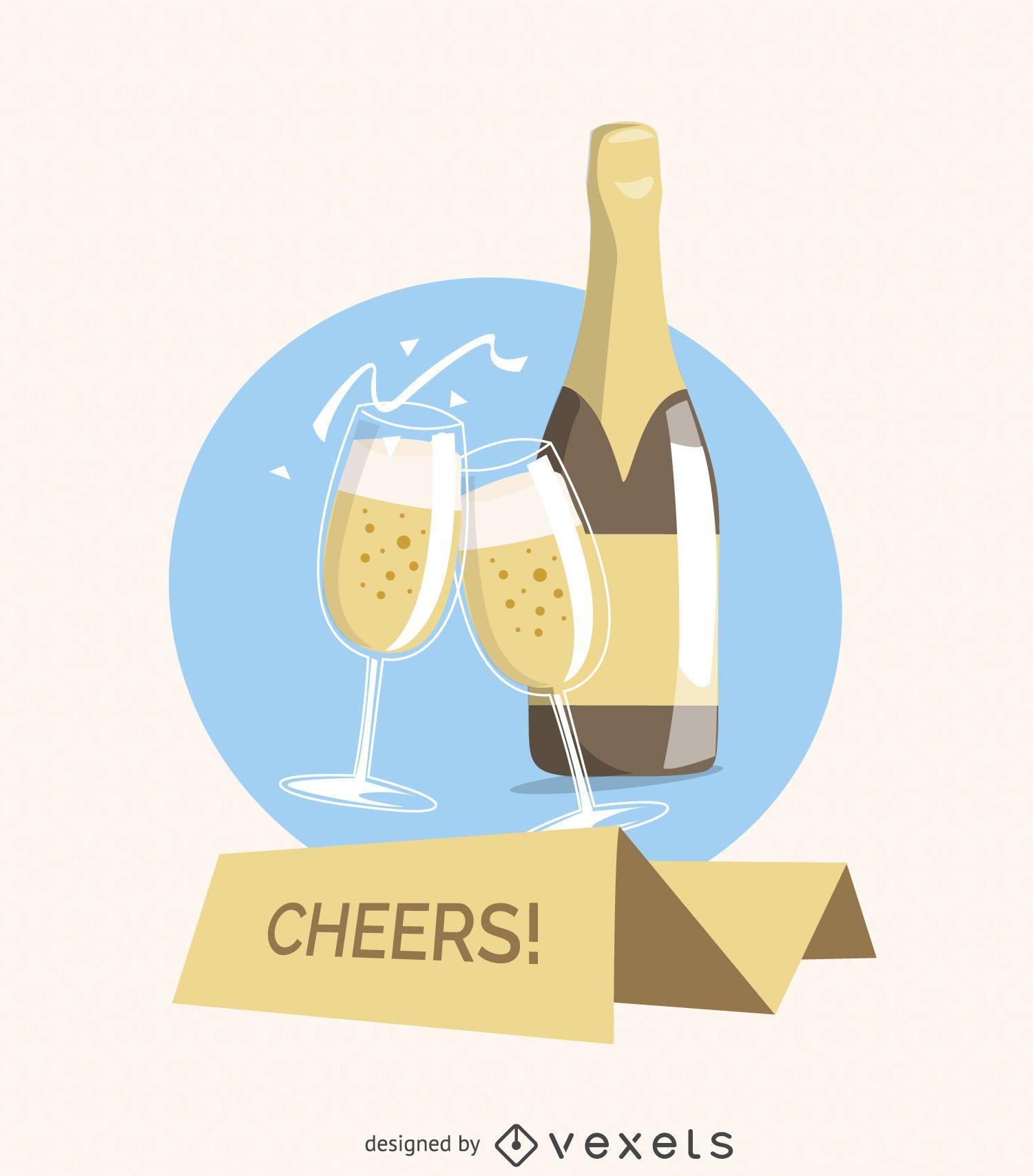 Tarjeta de felicitación de saludos de champán