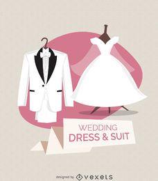 Ilustración de vestido y traje de novia